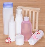 Different facial cleansers and makeup removers Stock Image