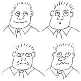 Different facial expressions. Illustration of the man with different facial expressions - vector Royalty Free Stock Image