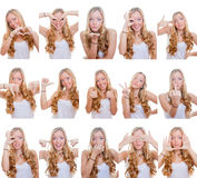Different facial expressions. Woman with different facial expressions and gestures or signs Royalty Free Stock Photos