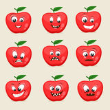 Different facial expressions with apple. Funny apple character showing different facial expressions on beige background Stock Photo