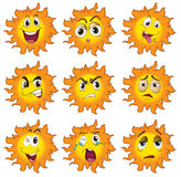 Different facial expressions of the sun. Illustration of the different facial expressions of the sun on a white background Stock Images