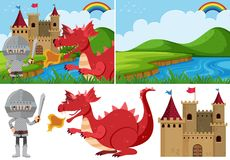 Different fairytale scenes with knight and dragon. Illustration Royalty Free Stock Images