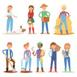 Different farmer workers people character agriculture person profession farming life vector illustration. Stock Images