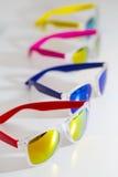 Different fashion eyewear on a white background Royalty Free Stock Photo