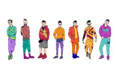 Different fashion people set. Modern clothes. Template sketch. Vector illustration stock illustration