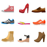 Different fashion shoe boots models for shop site. Vector illustration Stock Image
