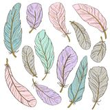 The different feathers are painted on a white background. Painted in delicate colors. Hand draw set Stock Image