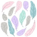 The different feathers are painted on a white background. Painted in delicate colors. Hand draw set Stock Photo
