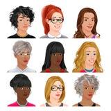 Different female avatars Stock Photos