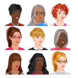 Different female avatars Royalty Free Stock Photography