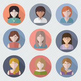 Different female faces in circle icons Royalty Free Stock Photography