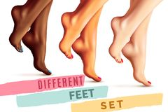 Different Female Feet Set Royalty Free Stock Photos