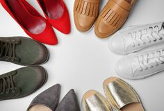 Different female shoes. On white background royalty free stock photo