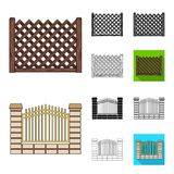 Different fence cartoon,black,flat,monochrome,outline icons in set collection for design.Decorative fencing vector. Symbol stock  illustration Stock Photography