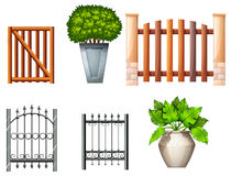 Different fences and gates with plants Stock Image