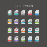 Different file types thin line color icons set. Different file types thin line color icons vector set Royalty Free Stock Images