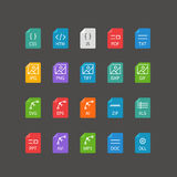 Different file types thin line color icons set Royalty Free Stock Photo