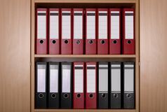 Files in office cupboard Royalty Free Stock Image