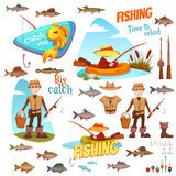 Different fish and fisherman. The set of vector illustrations with the fishermen and the different fish Stock Photo