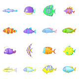 Different fish icons set, cartoon style Stock Photo