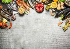 Different fish, shrimp and shellfish with slices of lemon. Fresh seafood. Different fish, shrimp and shellfish with slices of lemon and spices. On a stone Royalty Free Stock Image