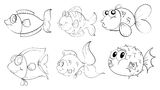 Different fishes in a doodle design Stock Images