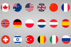 18 different flags countries set. In circle Royalty Free Stock Images