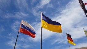 Different flags flying stock footage