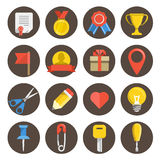 Different flat icons set on circles Stock Photography