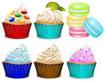 Different flavor of cupcakes. Illustration royalty free illustration