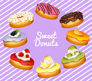 Different flavor of donuts Stock Image