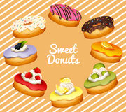 Different flavor of donuts Royalty Free Stock Photography