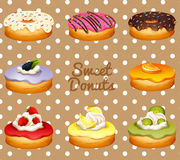 Different flavor of donuts Stock Photography
