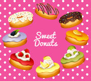 Different flavor of donuts Royalty Free Stock Images