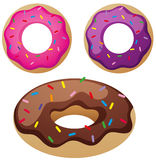 Different flavor donuts on white background Stock Photo