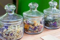 Different Flavor Flower Tea in glass jars, Dried Flowers. Organic Herbal Tea royalty free stock photo