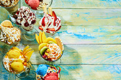 Different flavor ice cream sundaes Stock Photography
