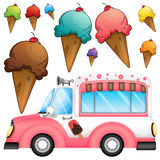 Different flavor ice cream and a truck Royalty Free Stock Image