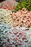 Different flavored piles of turkish delight. Piles of different flavored turkish delight in the Grand Bizarre market in Istanbul Royalty Free Stock Photography