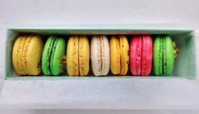 Different flavors and colors of macarons Stock Photography