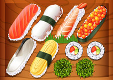 Different flavors of sushi Stock Images