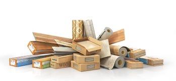 Different floor coating materials type. 3d illustration vector illustration