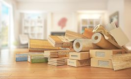 Different floor coating materials type. 3d illustration stock photos