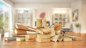 Different floor coating materials type. 3d illustration royalty free stock image