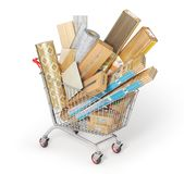 Different floor coating materials type in the shopping cart. 3d illustration stock photo