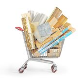 Different floor coating materials type in the shopping cart. 3d illustration vector illustration