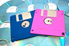Different floppy disks on cd's Stock Image