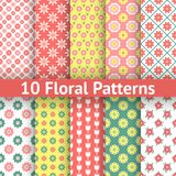 Different floral seamless patterns (tiling). 10 Different floral seamless patterns (tiling). Romantic colorful texture for printing onto fabric and paper or royalty free illustration