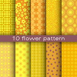 10 different flower vector patterns. Royalty Free Stock Photography