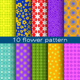10 different flower vector seamless patterns. Endless texture can be used for printing onto fabric, paper or scrap booking, wallpaper, pattern fills, web page Royalty Free Stock Photo